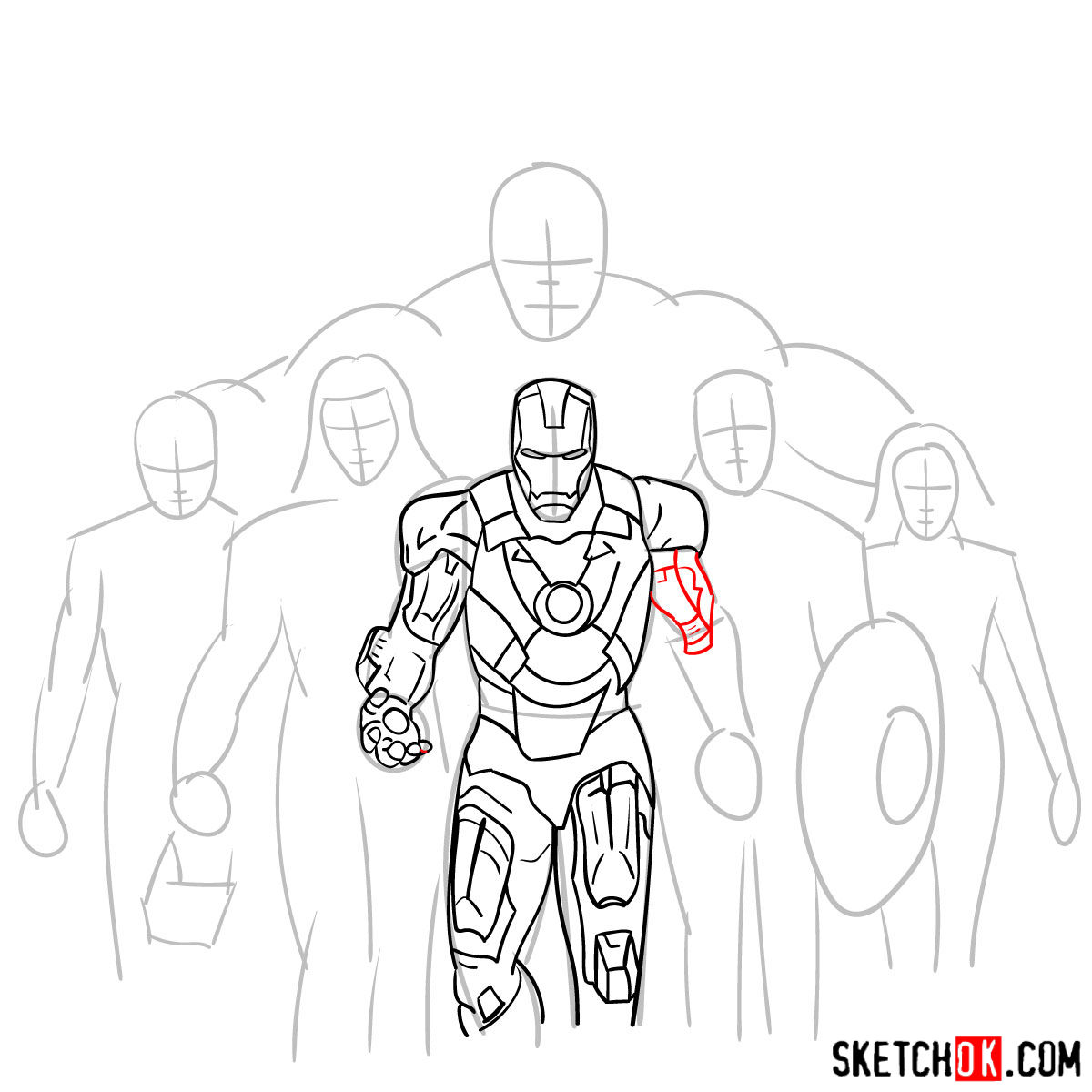 How to draw the Avengers Team - step 13
