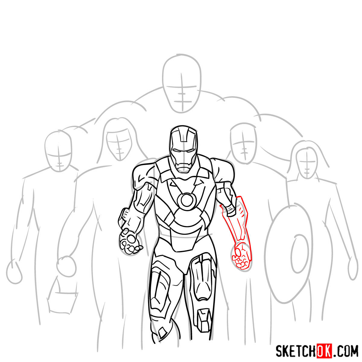How to draw the Avengers Team - step 14