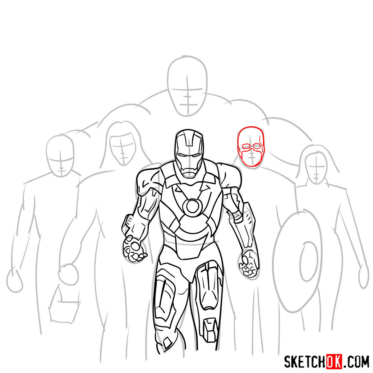 How to draw the Avengers Team - step 15