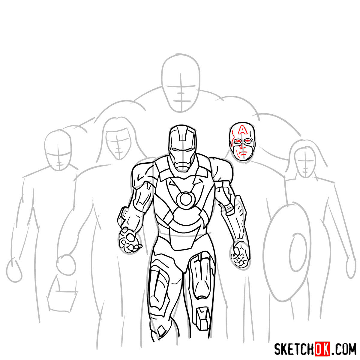 How to draw the Avengers Team - step 16