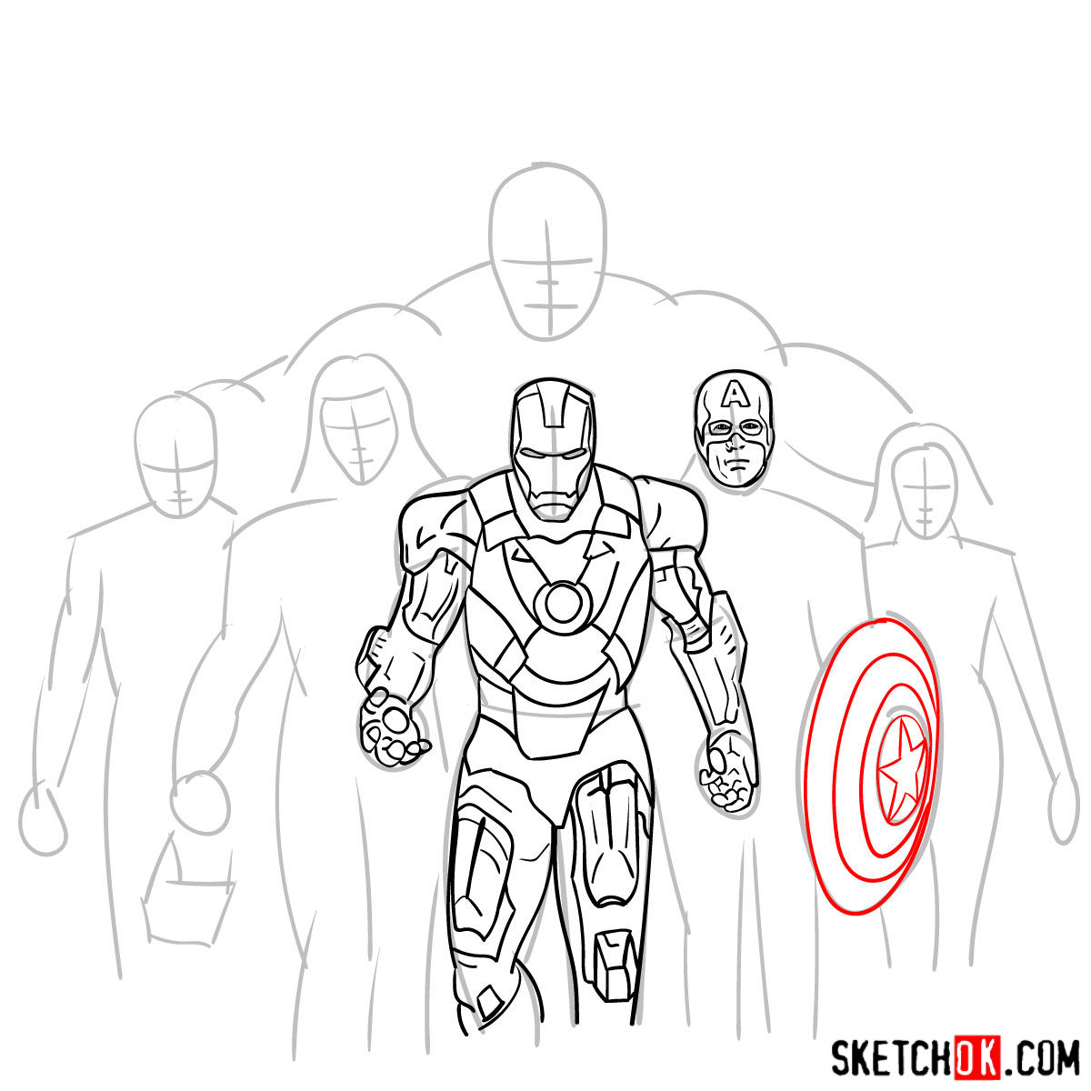 How to draw the Avengers Team - step 17