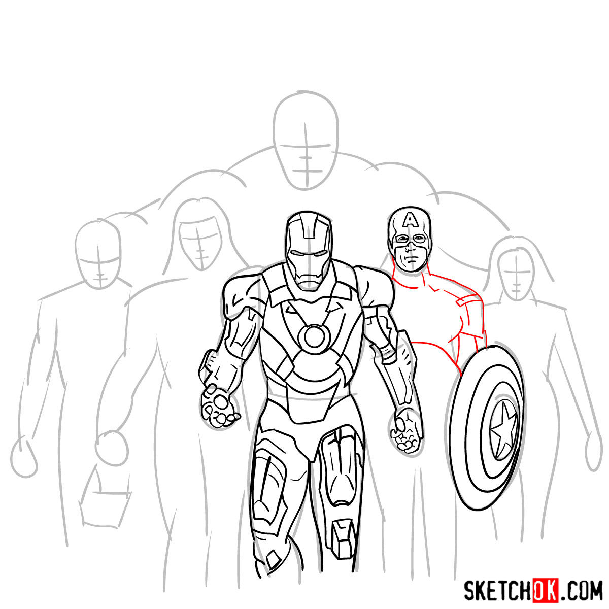 How to draw the Avengers Team - step 18