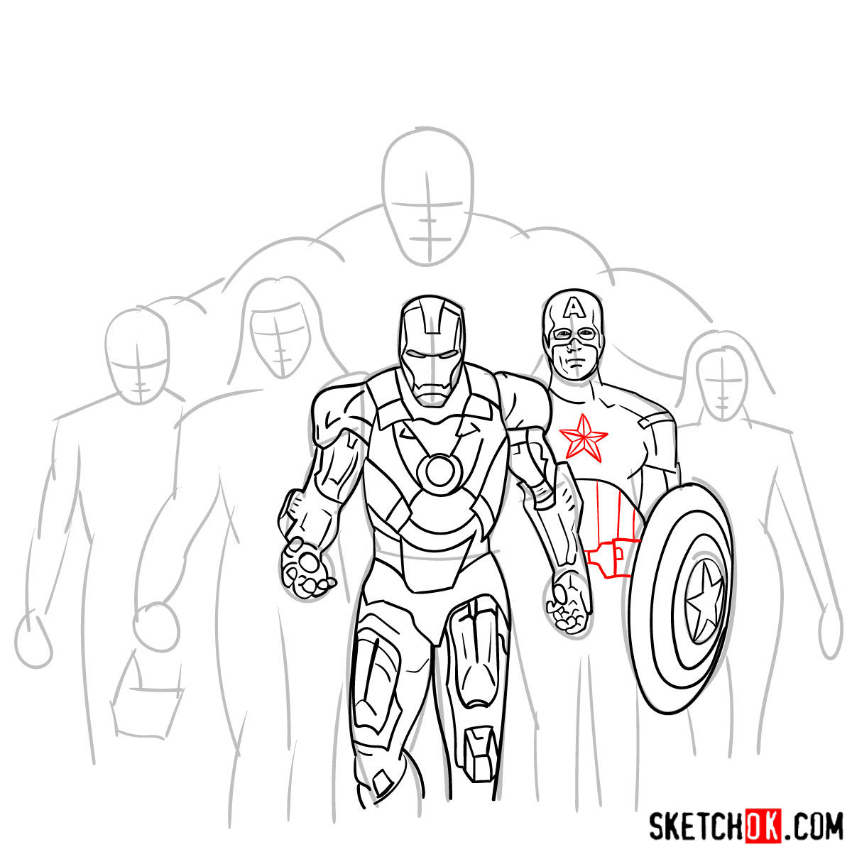 How to draw the Avengers Team - step 19