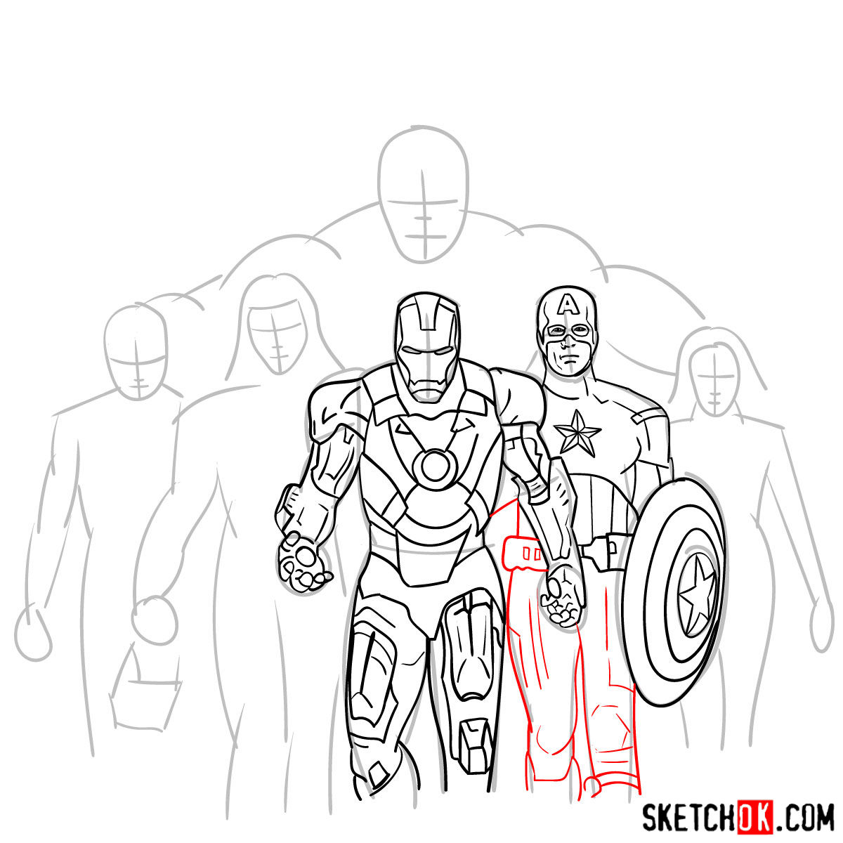 How to draw the Avengers Team - step 20