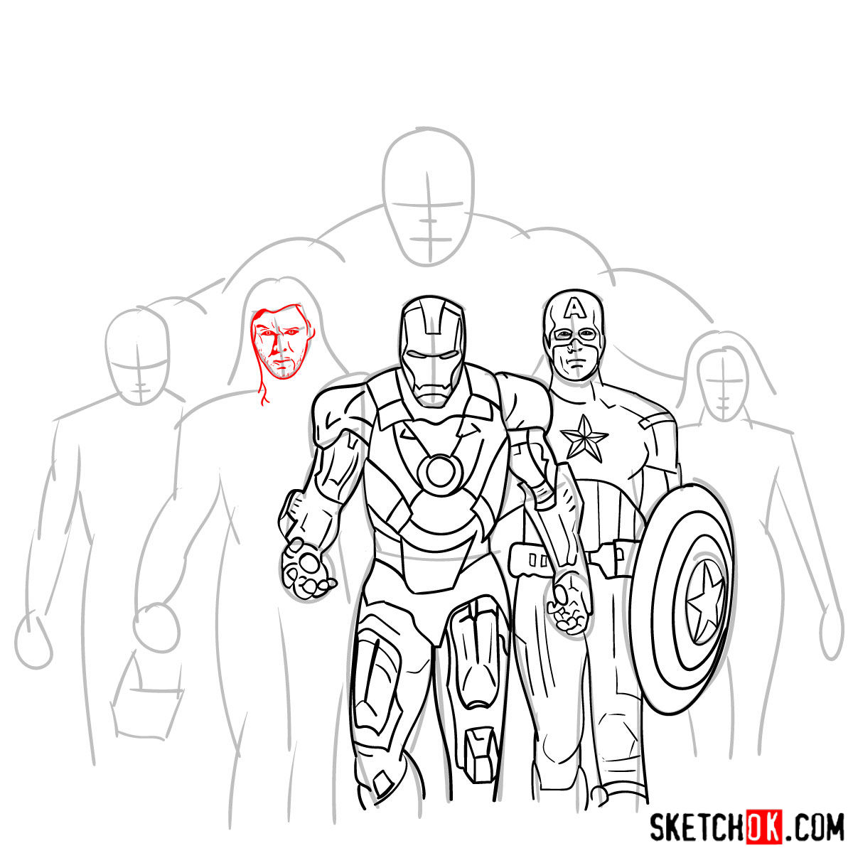 How to draw the Avengers Team - step 21