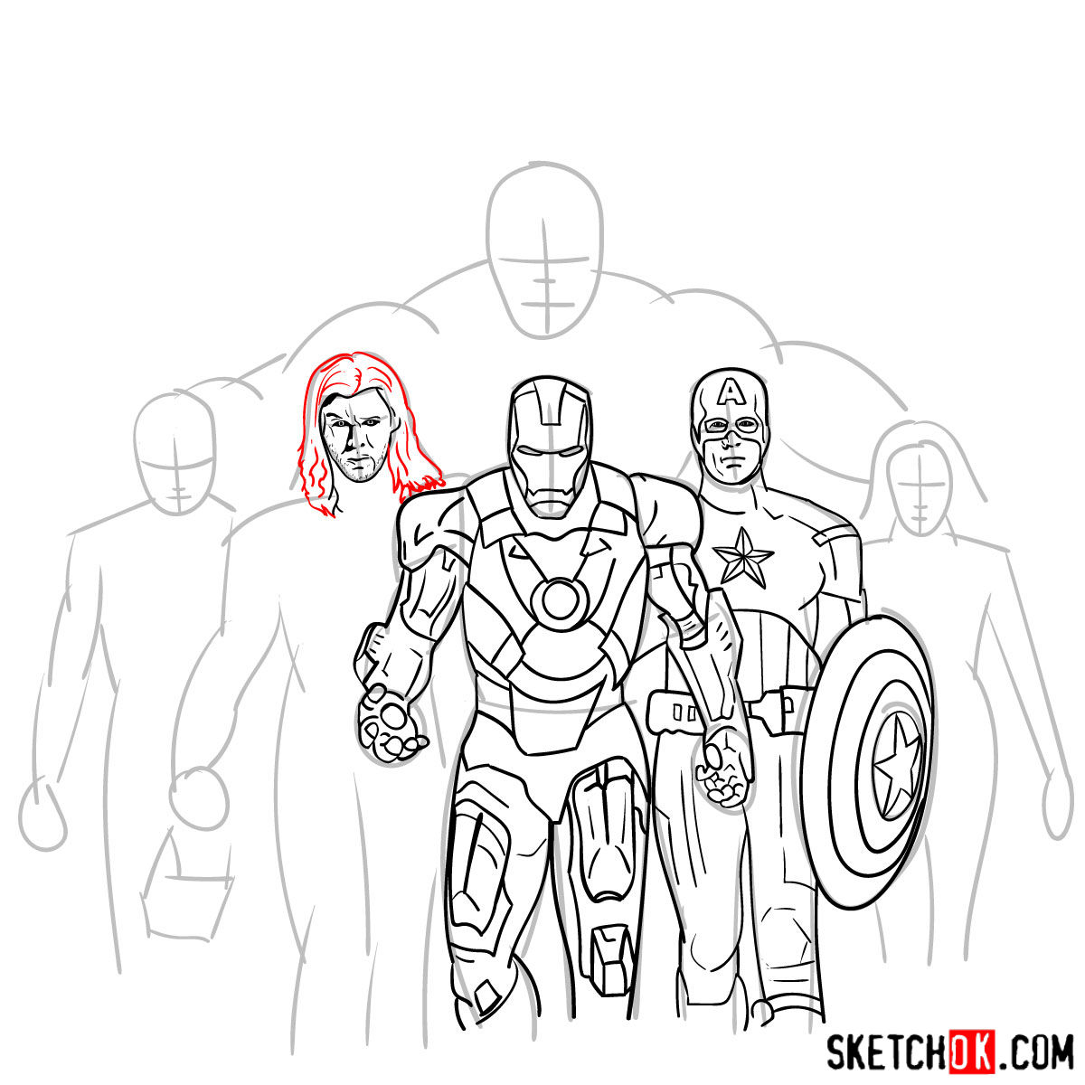 How To Draw The Avengers Team Step By Step Drawing Tutorials