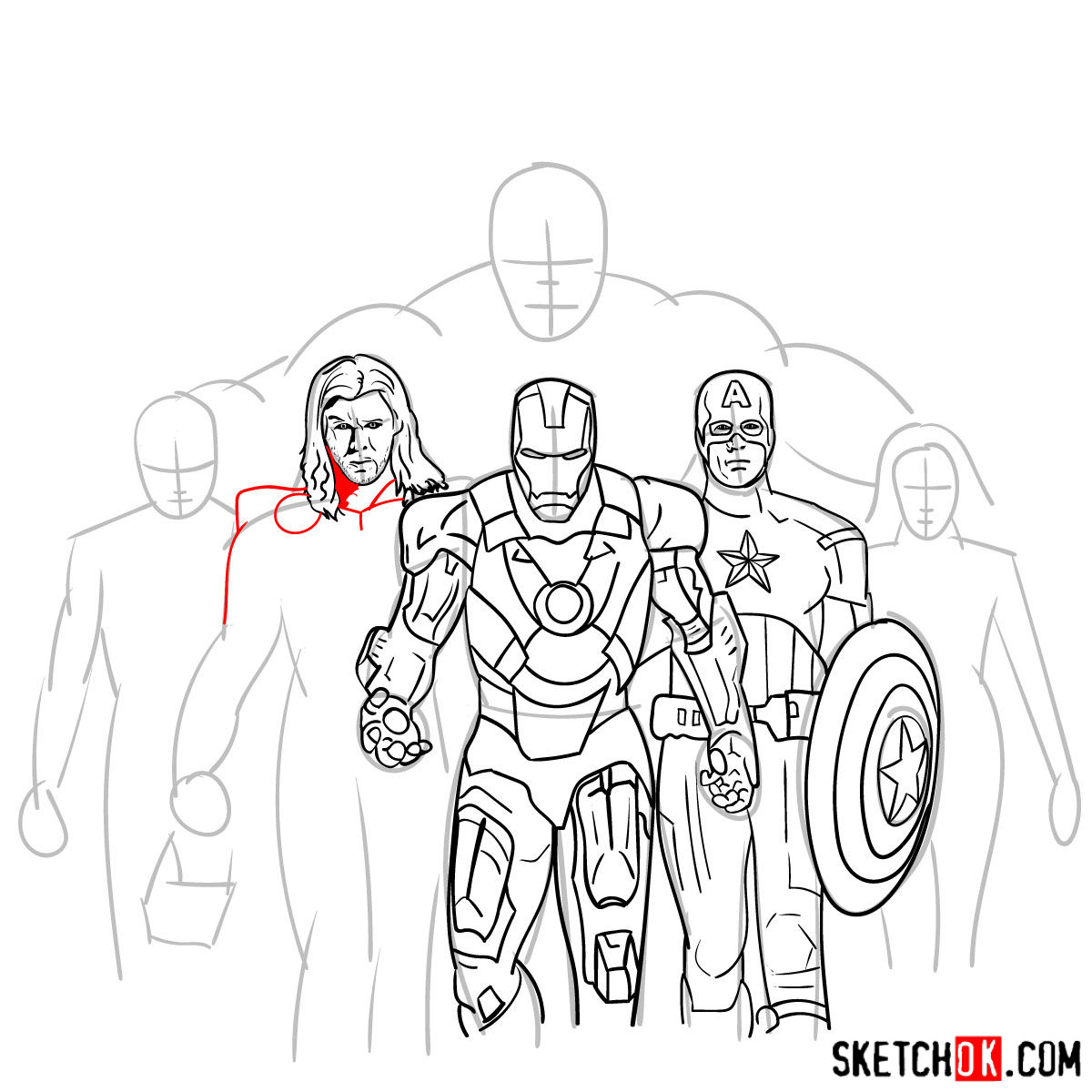 How to draw the Avengers Team - step 23