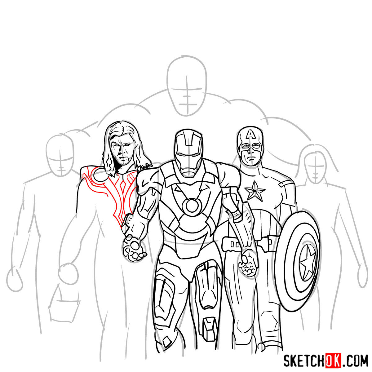 How to draw the Avengers Team - step 24