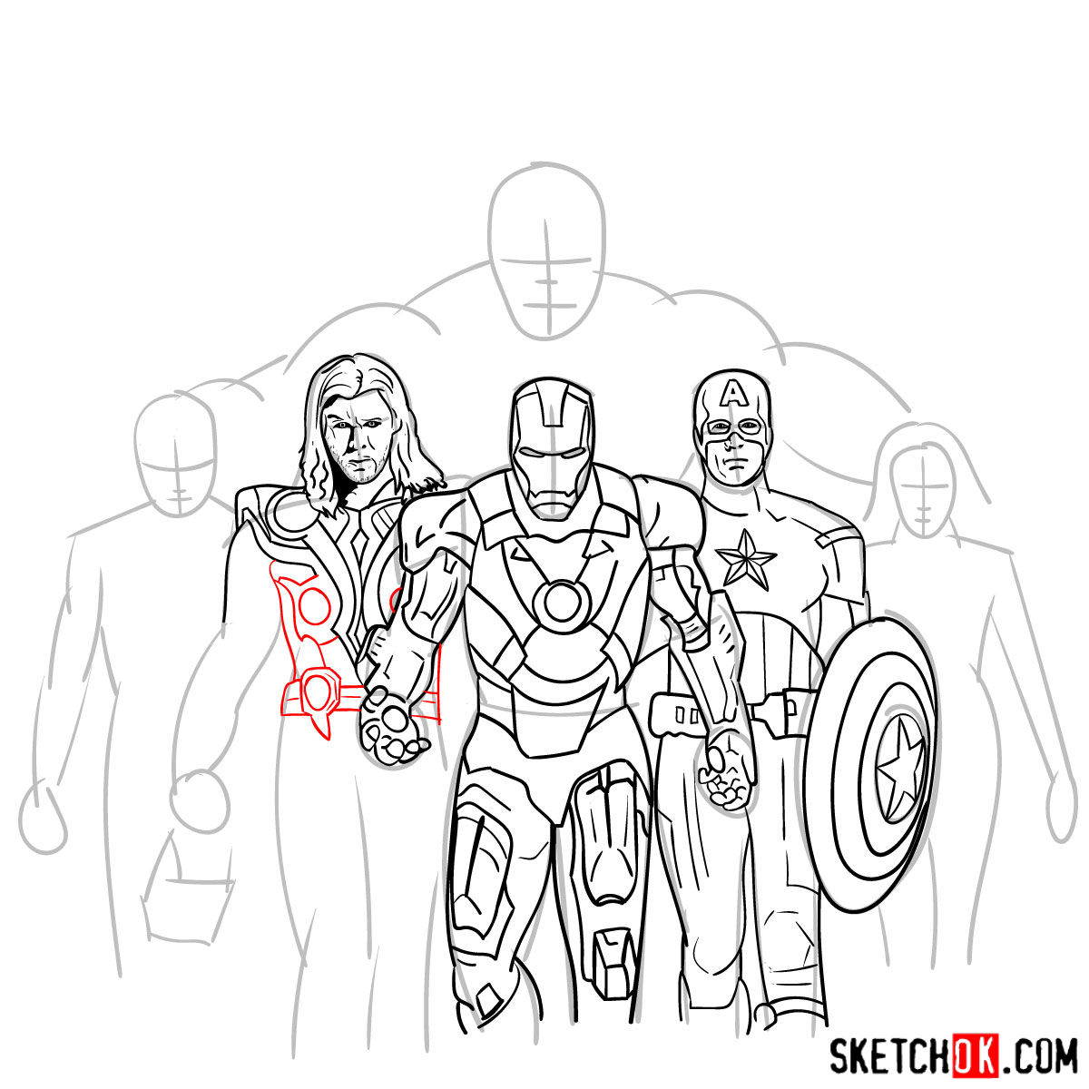 How to draw the Avengers Team - step 25