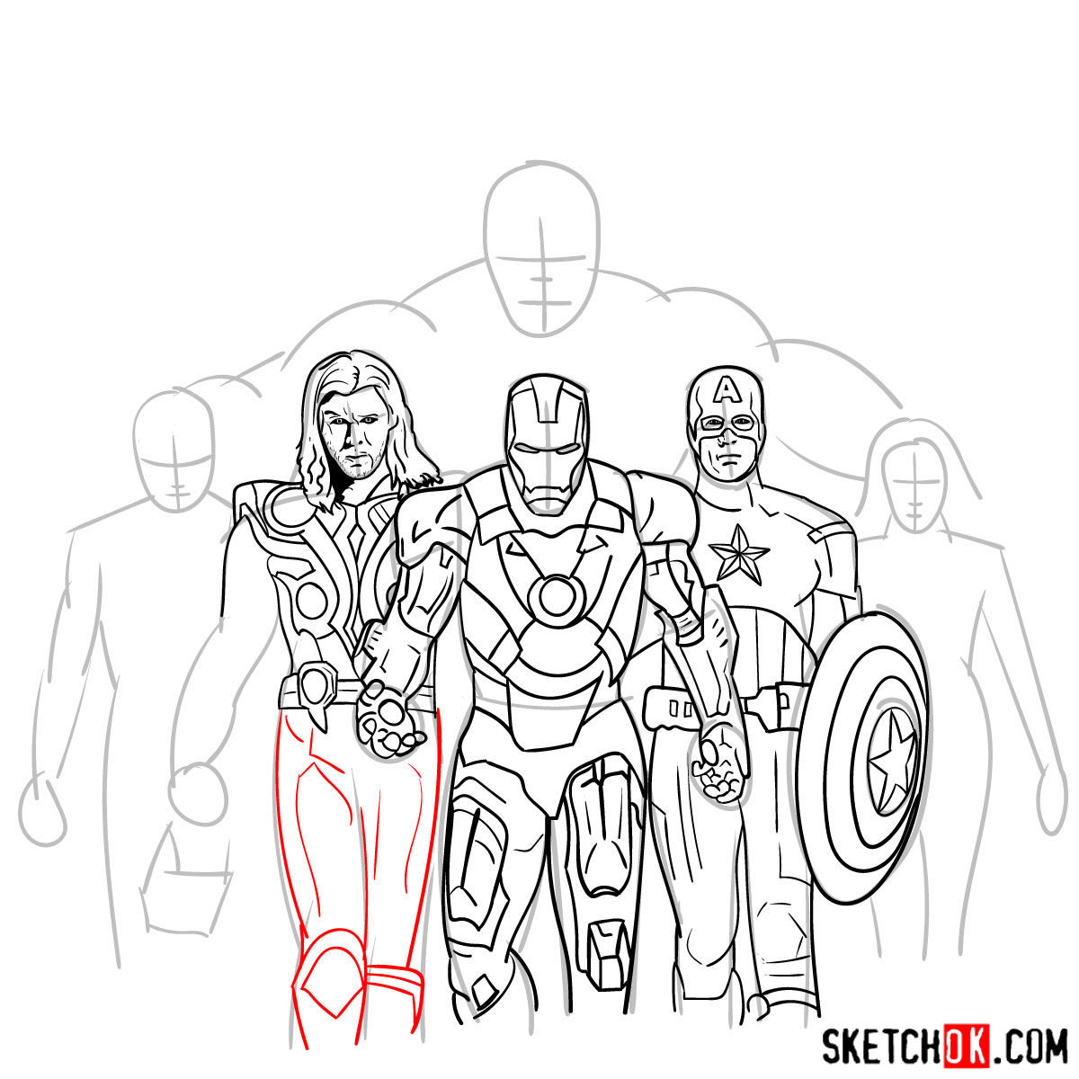 How to draw the Avengers Team - step 26