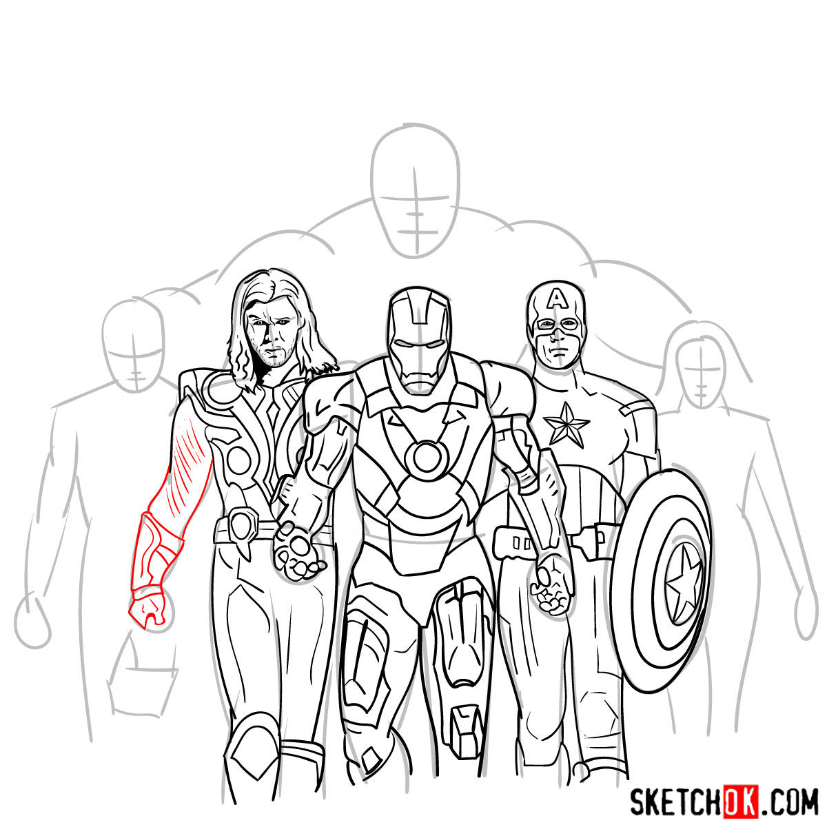 How to draw the Avengers Team - step 27
