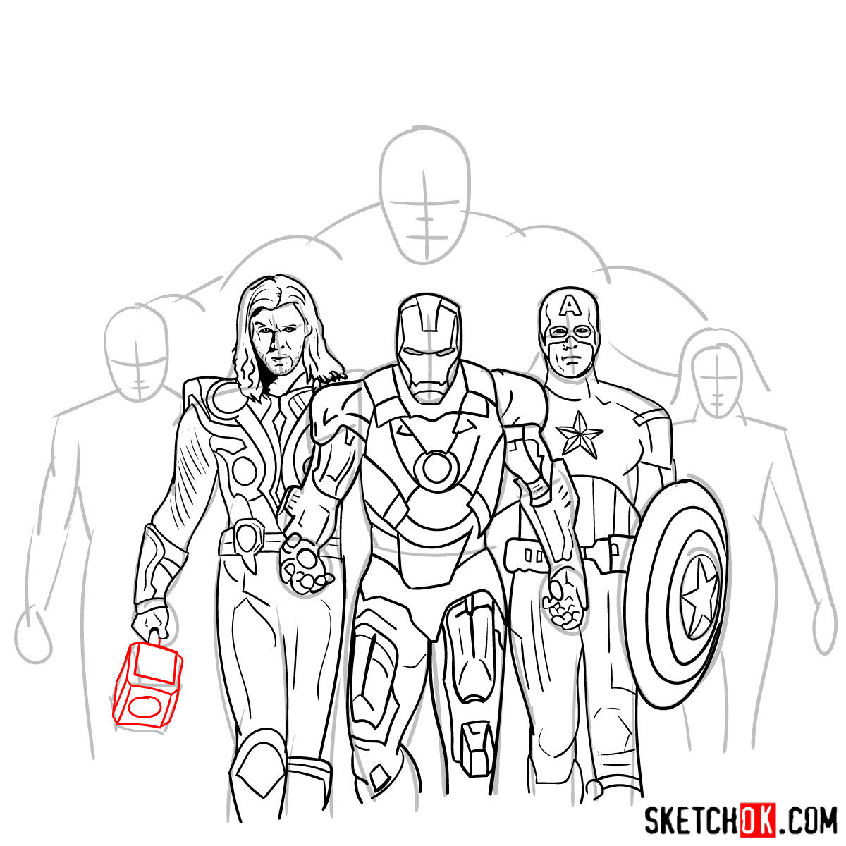 How to draw the Avengers Team - step 28