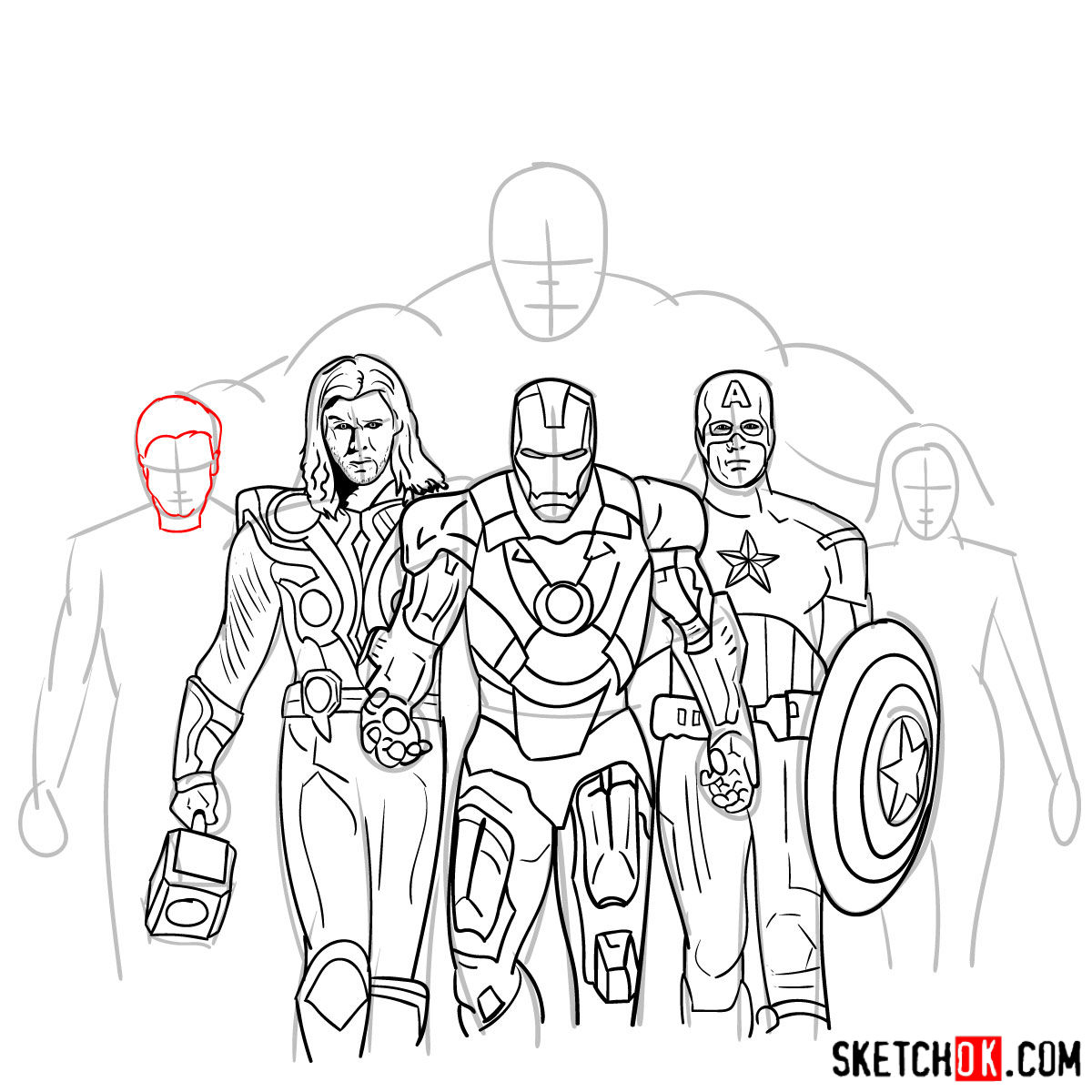 How to draw the Avengers Team - step 29