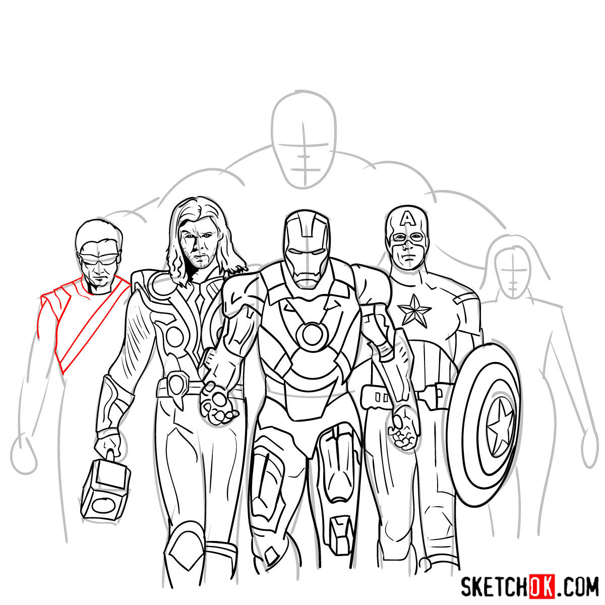 How to draw the Avengers Team - step 31