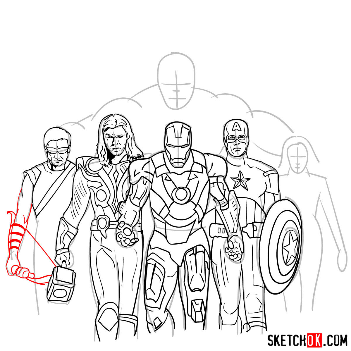 How to draw the Avengers Team - step 32
