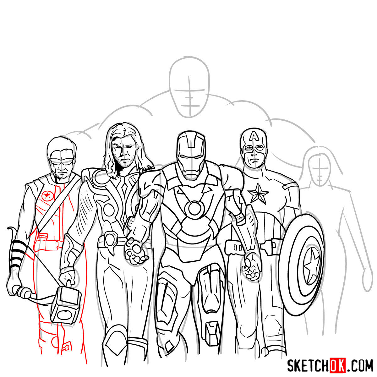 How to draw the Avengers Team - step 33