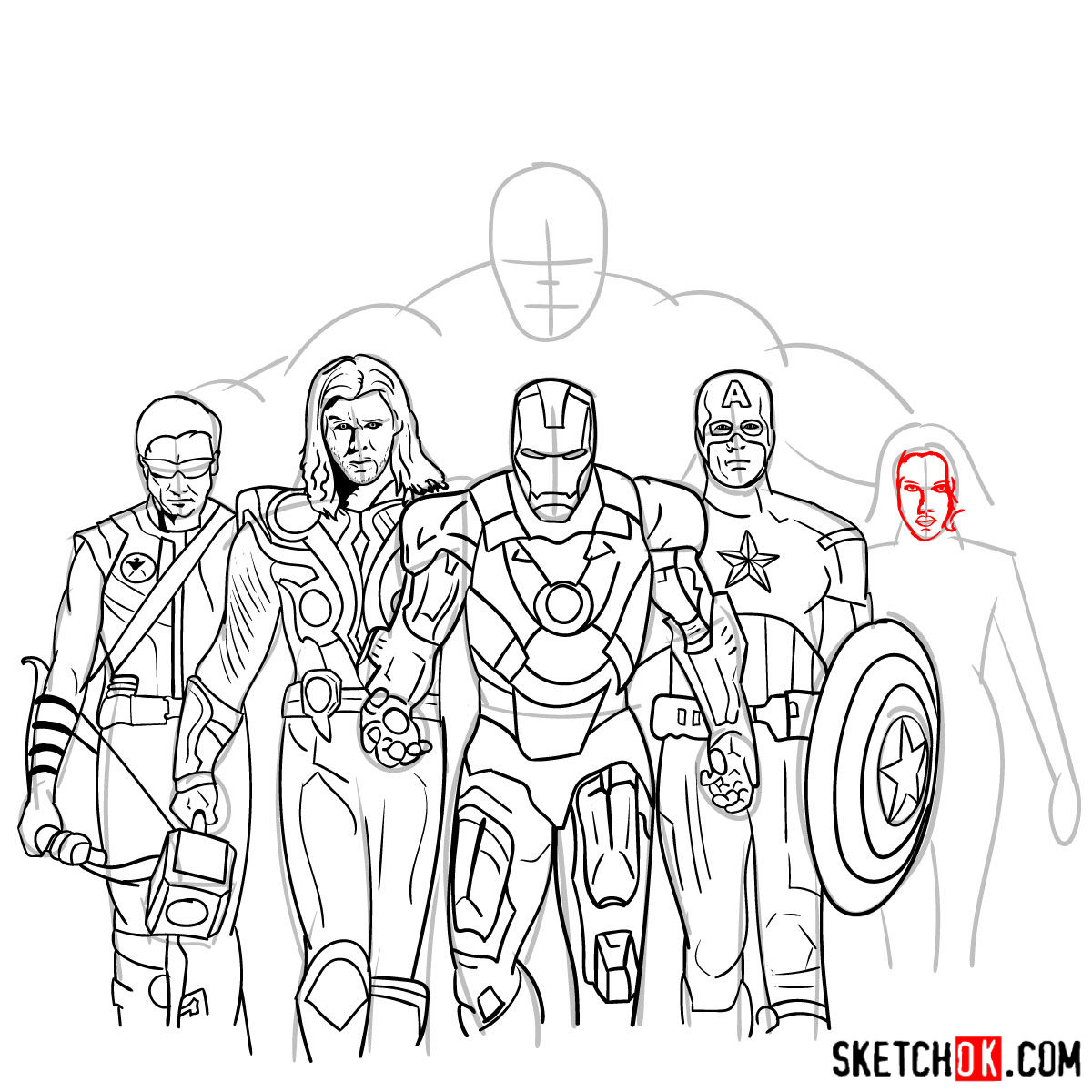 How to draw the Avengers Team - step 34