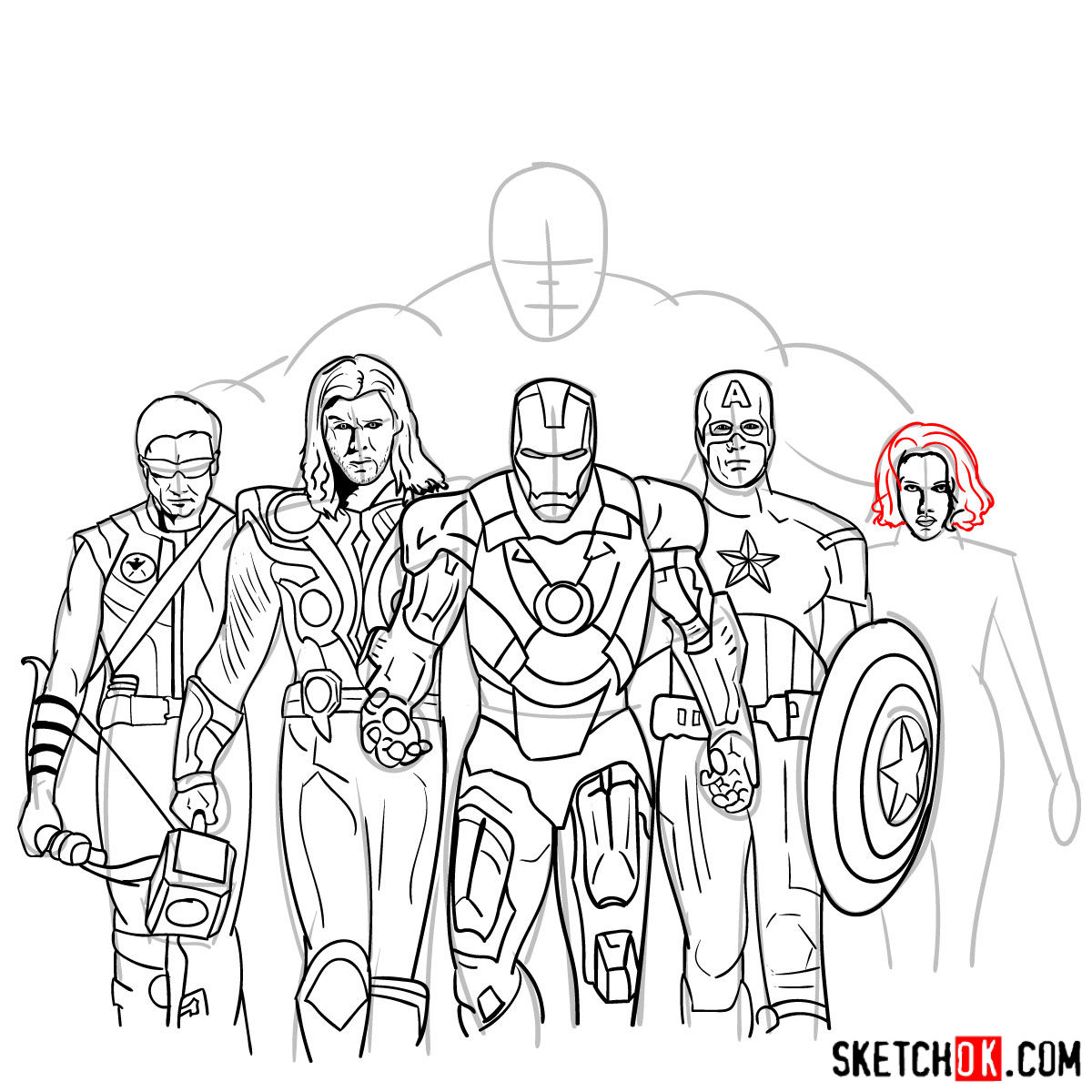 How to draw the Avengers Team - step 35
