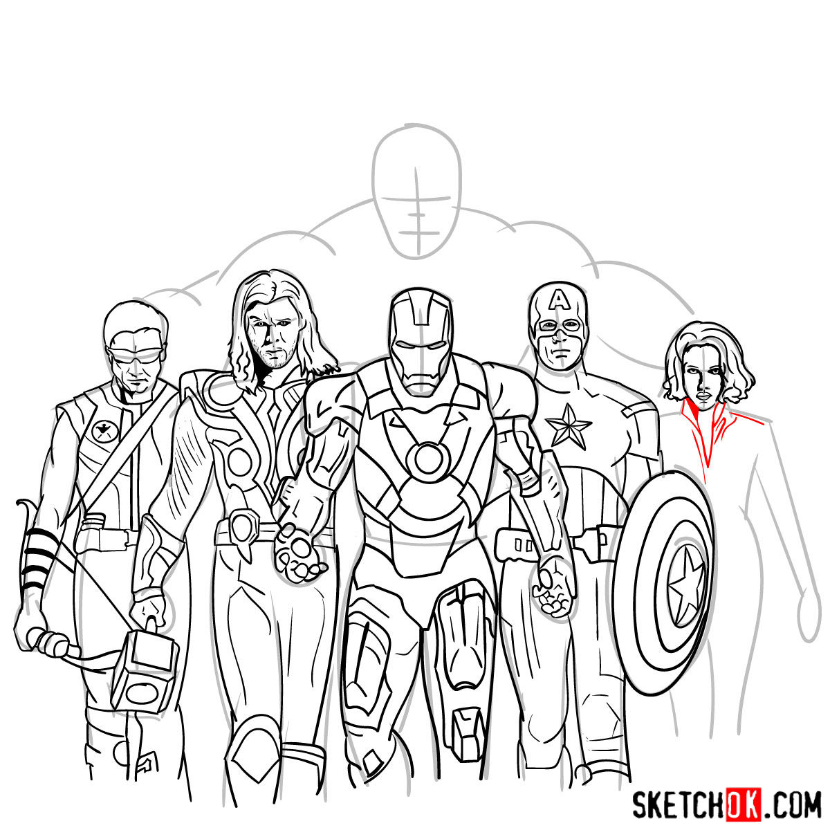 How to draw the Avengers Team - step 36