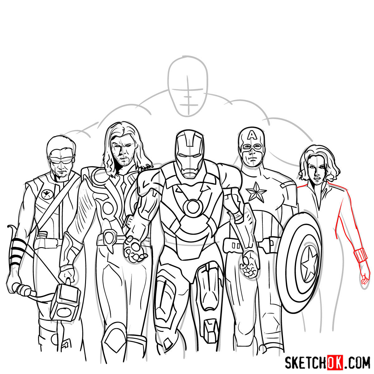 How to draw the Avengers Team - step 37
