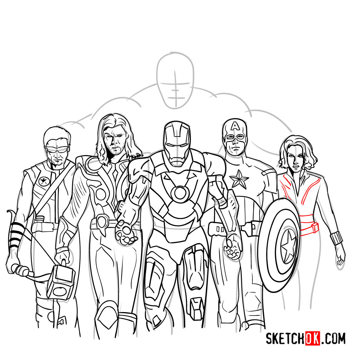 How to draw the Avengers Team - step 38