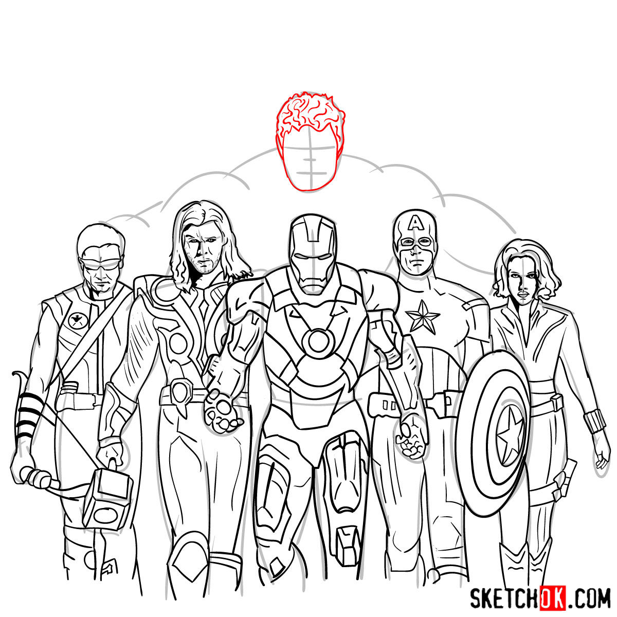 How to draw the Avengers Team - step 40