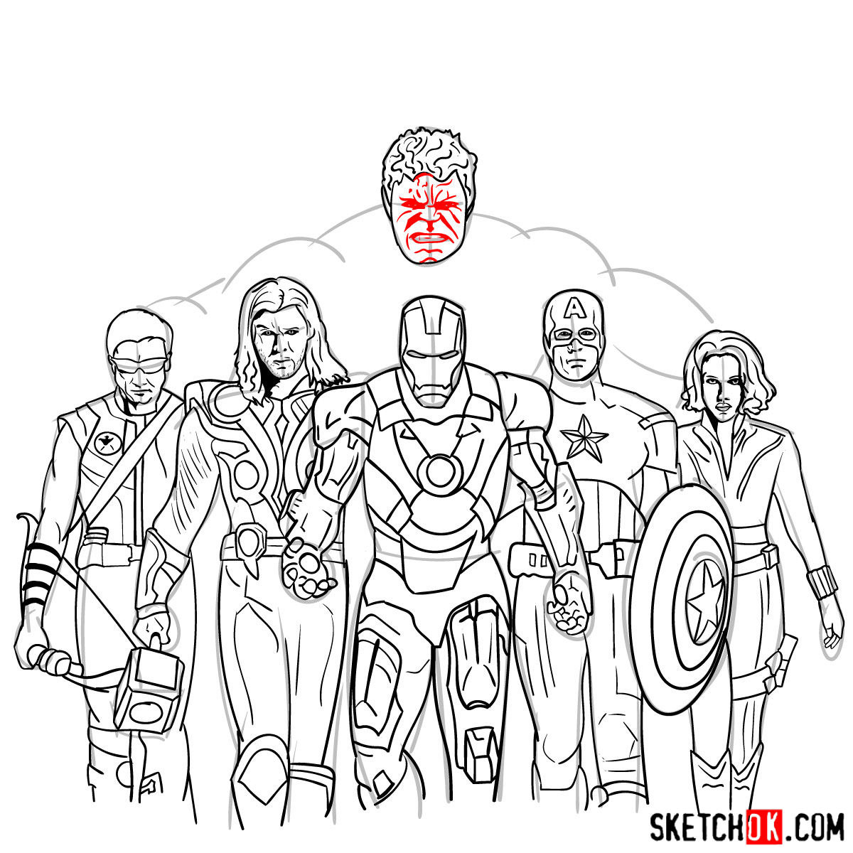 How to draw the Avengers Team - step 41