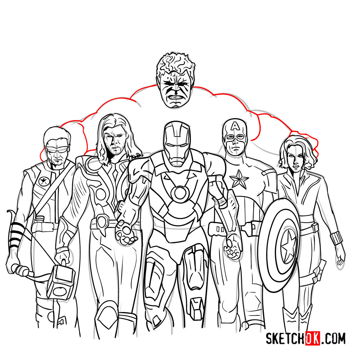 How to draw the Avengers Team - step 42