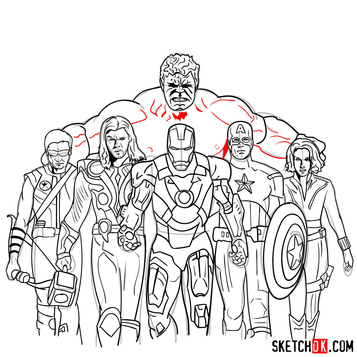 How to draw the Avengers Team - step 43