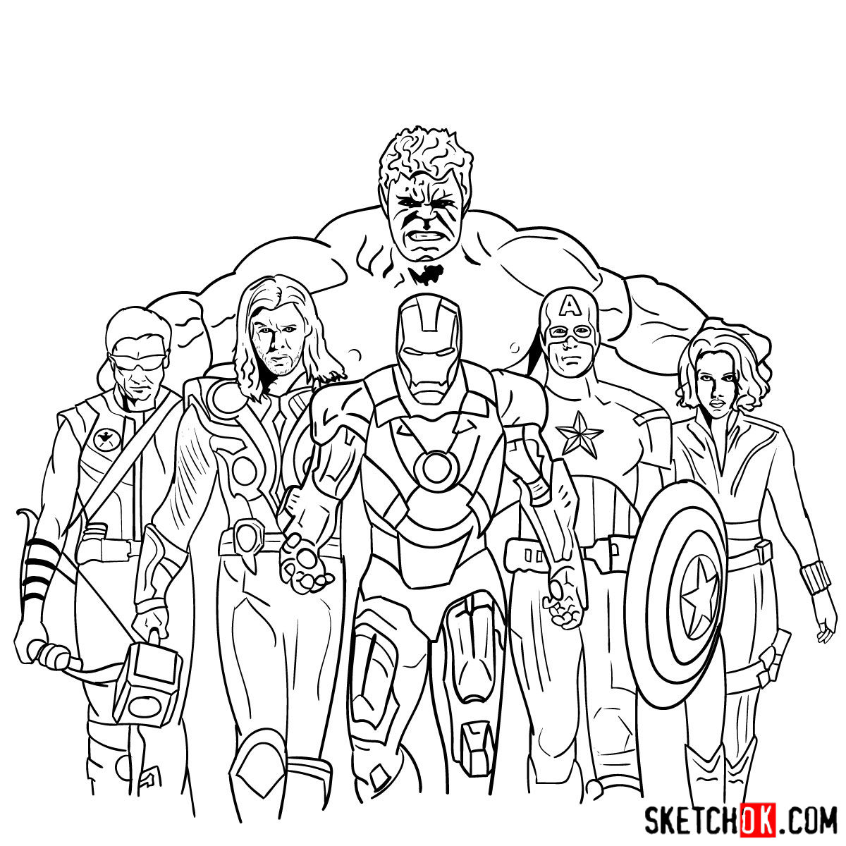 How to draw the Avengers Team - step 44