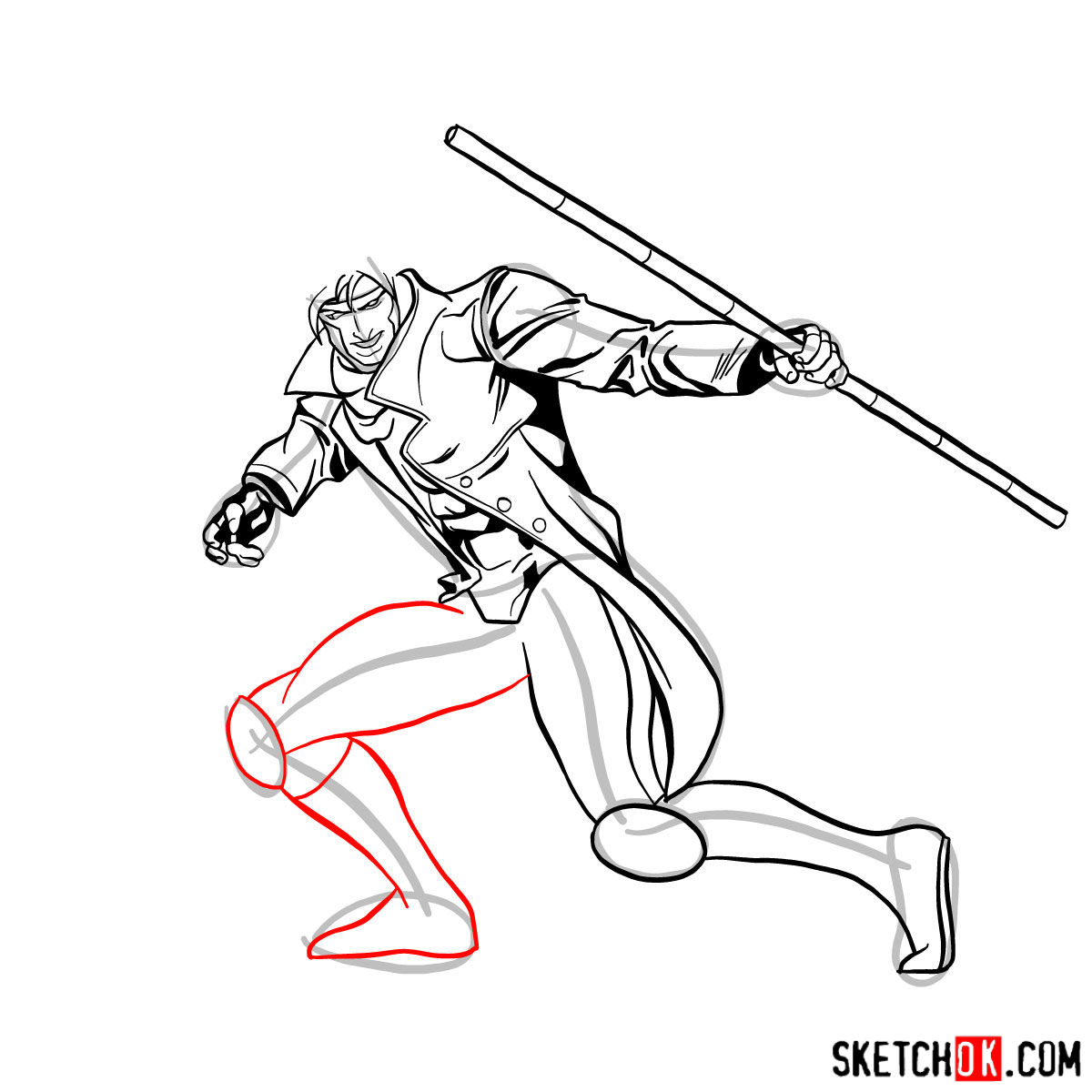How to draw Gambit from X-Men comics - step 11