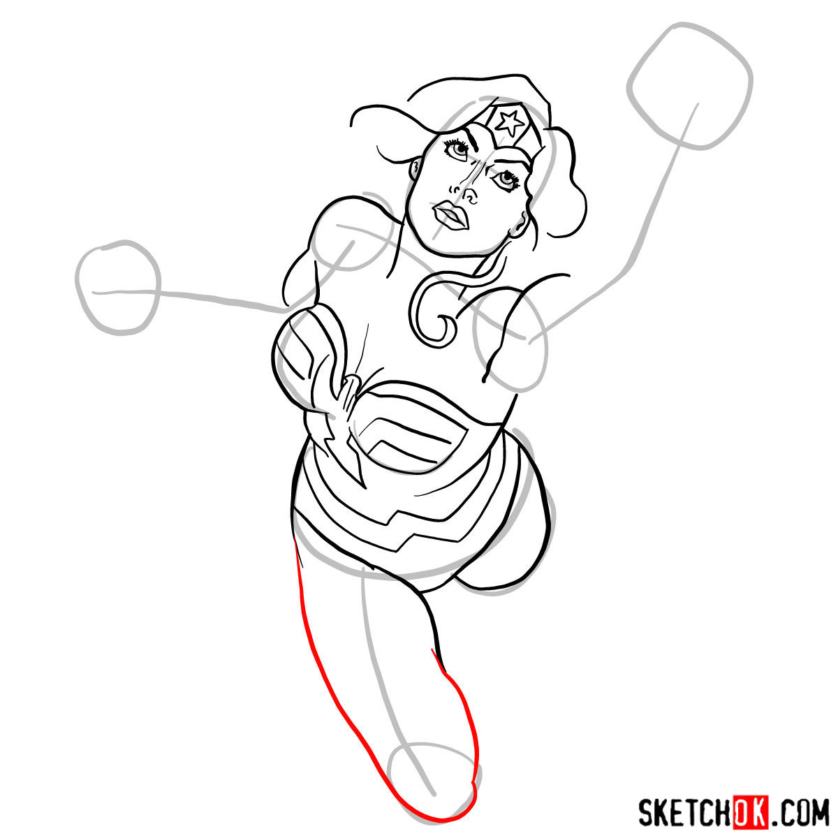 How to draw Wonder Woman in flight - step 09