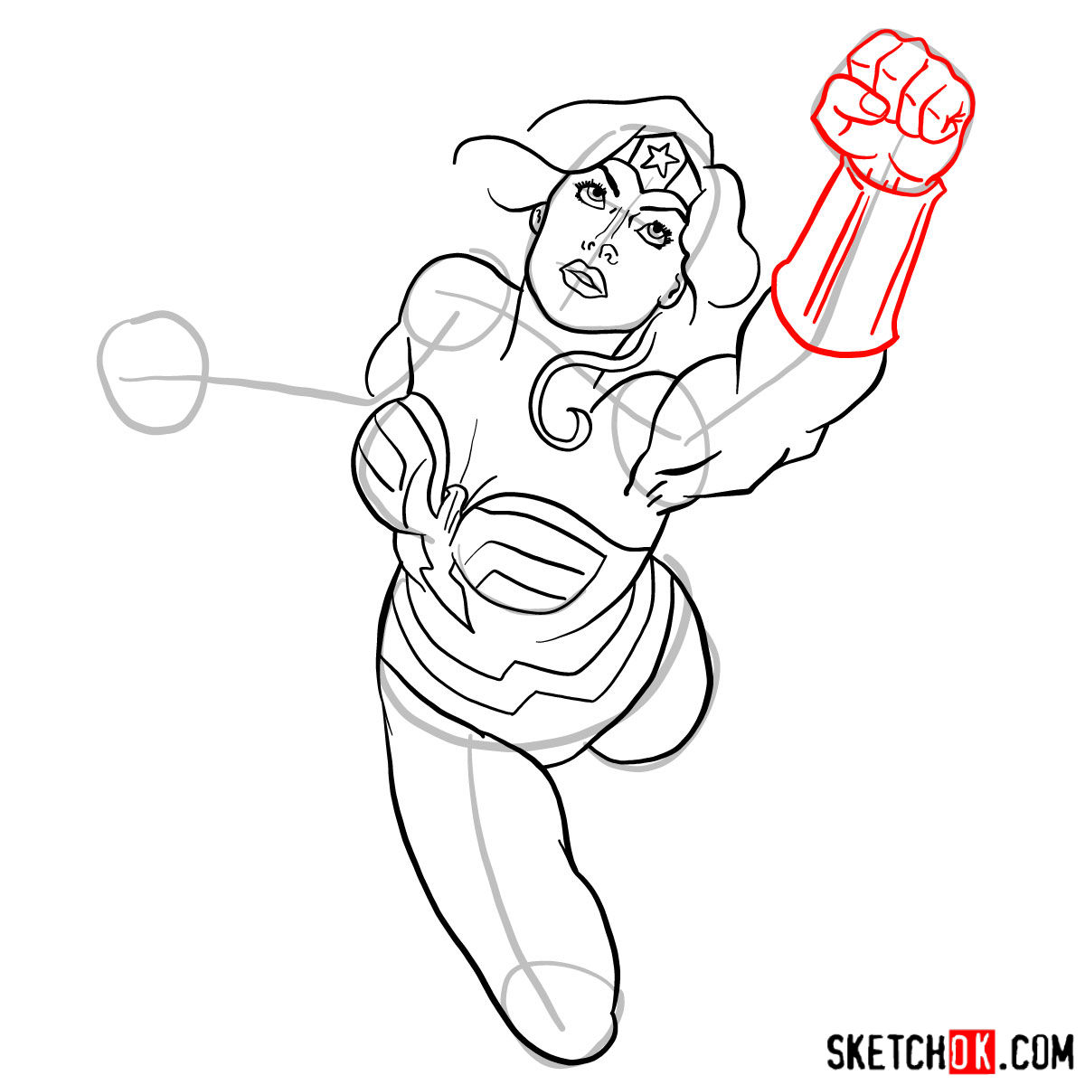 How to draw Wonder Woman in flight - step 11