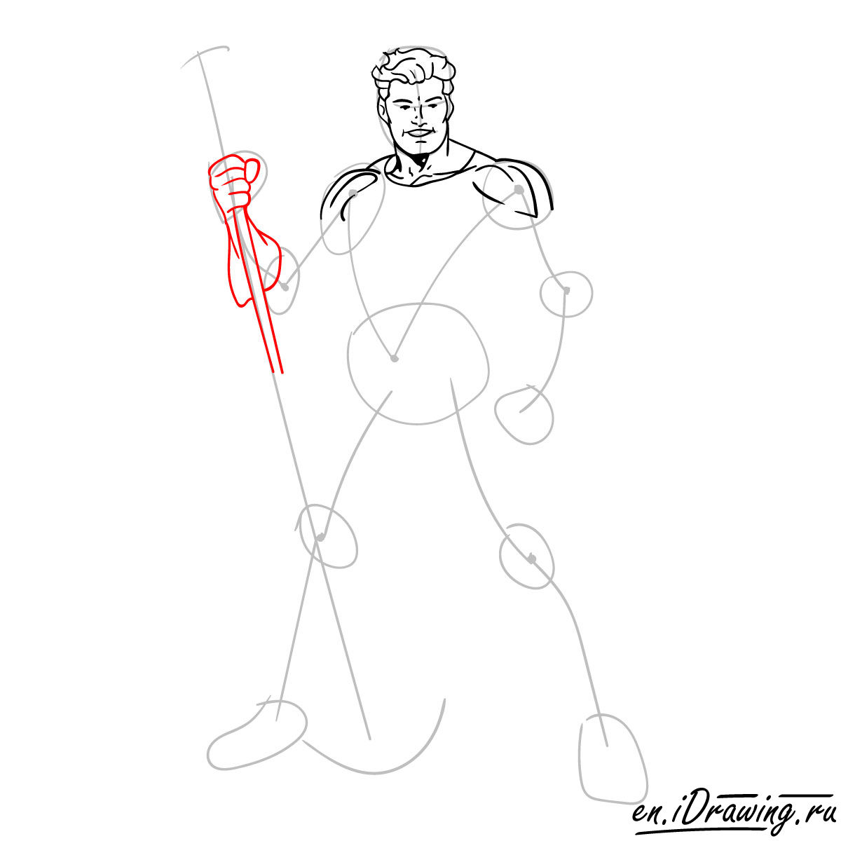 How to draw Aquaman from cartoons and comic books - step 07