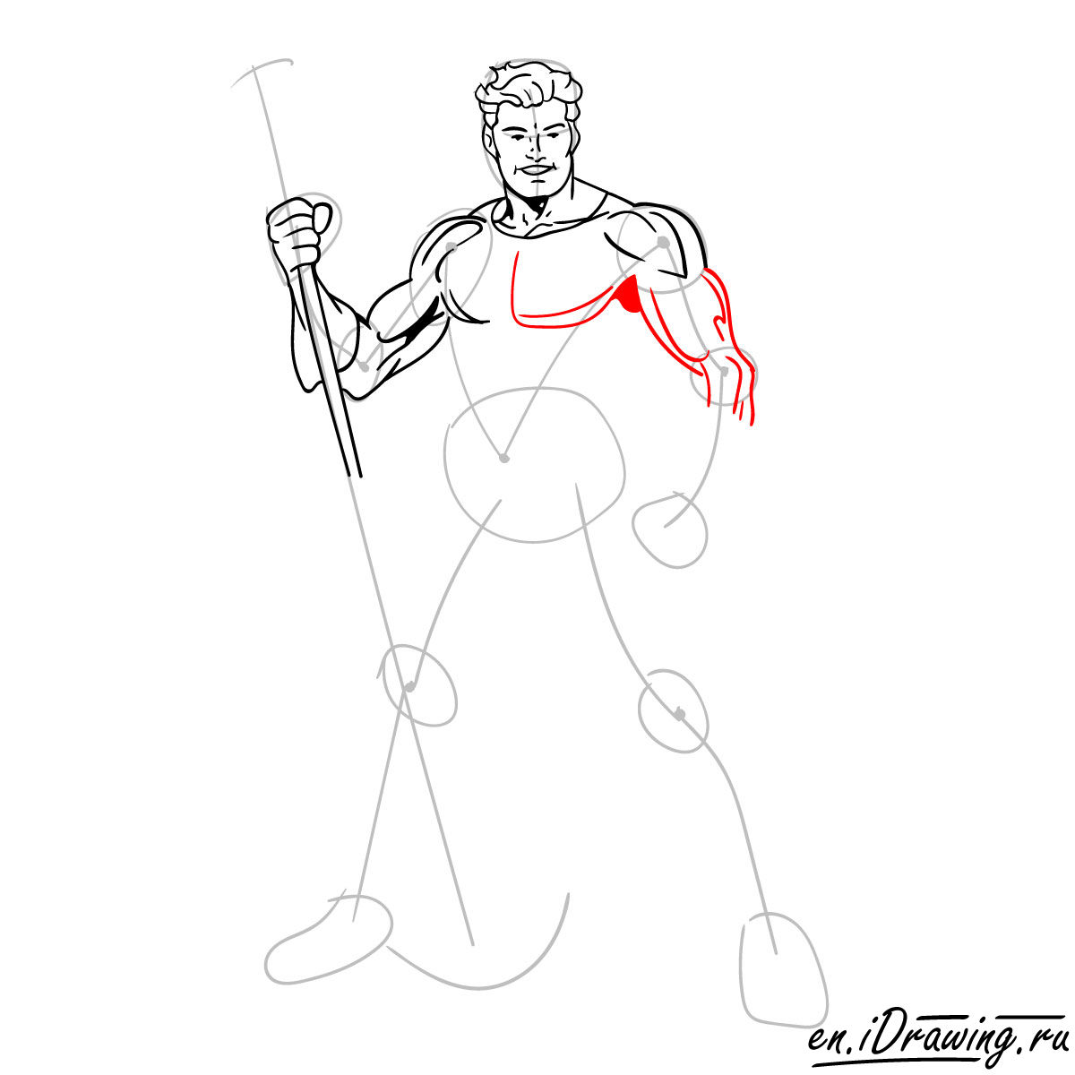 How to draw Aquaman from cartoons and comic books - step 09