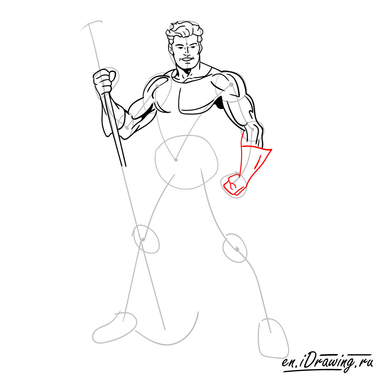 How to draw Aquaman from cartoons and comic books - step 10