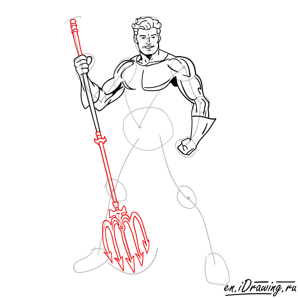 How to draw Aquaman from cartoons and comic books - step 11