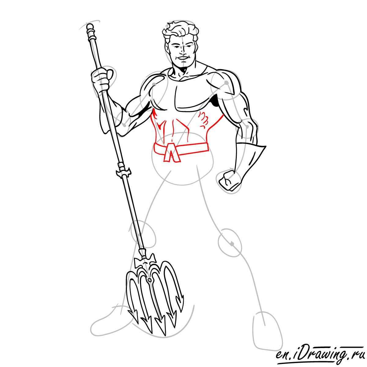 How to draw Aquaman from cartoons and comic books - step 12