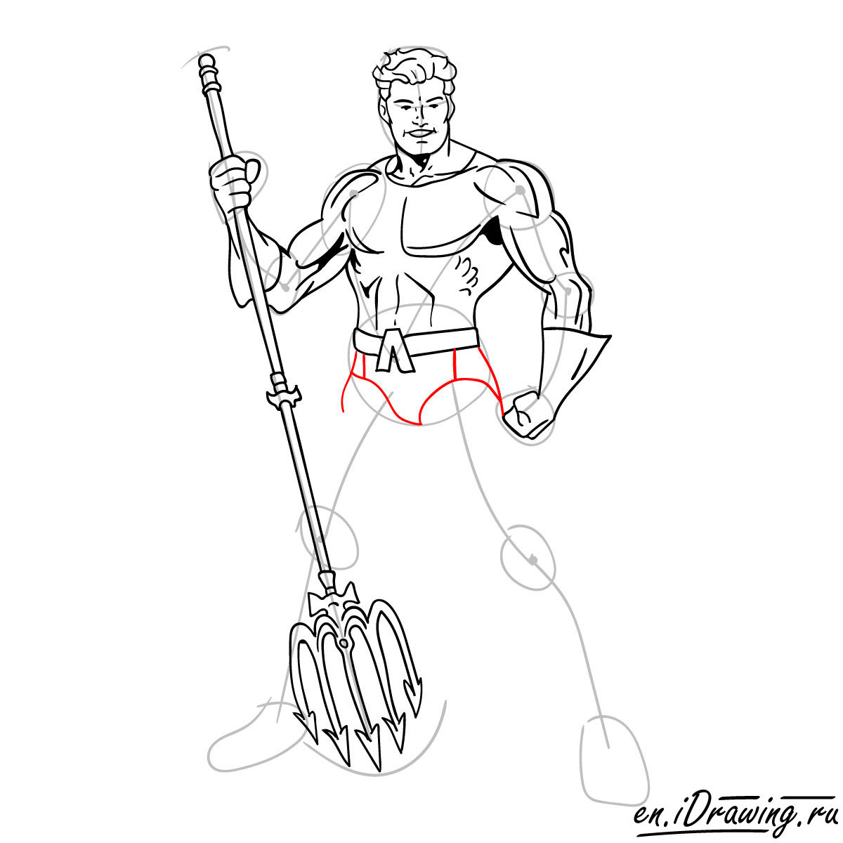 How to draw Aquaman from cartoons and comic books - step 13