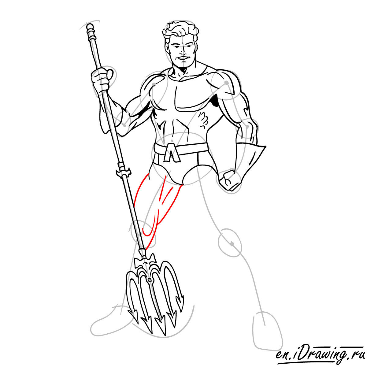 How to draw Aquaman from cartoons and comic books - step 14