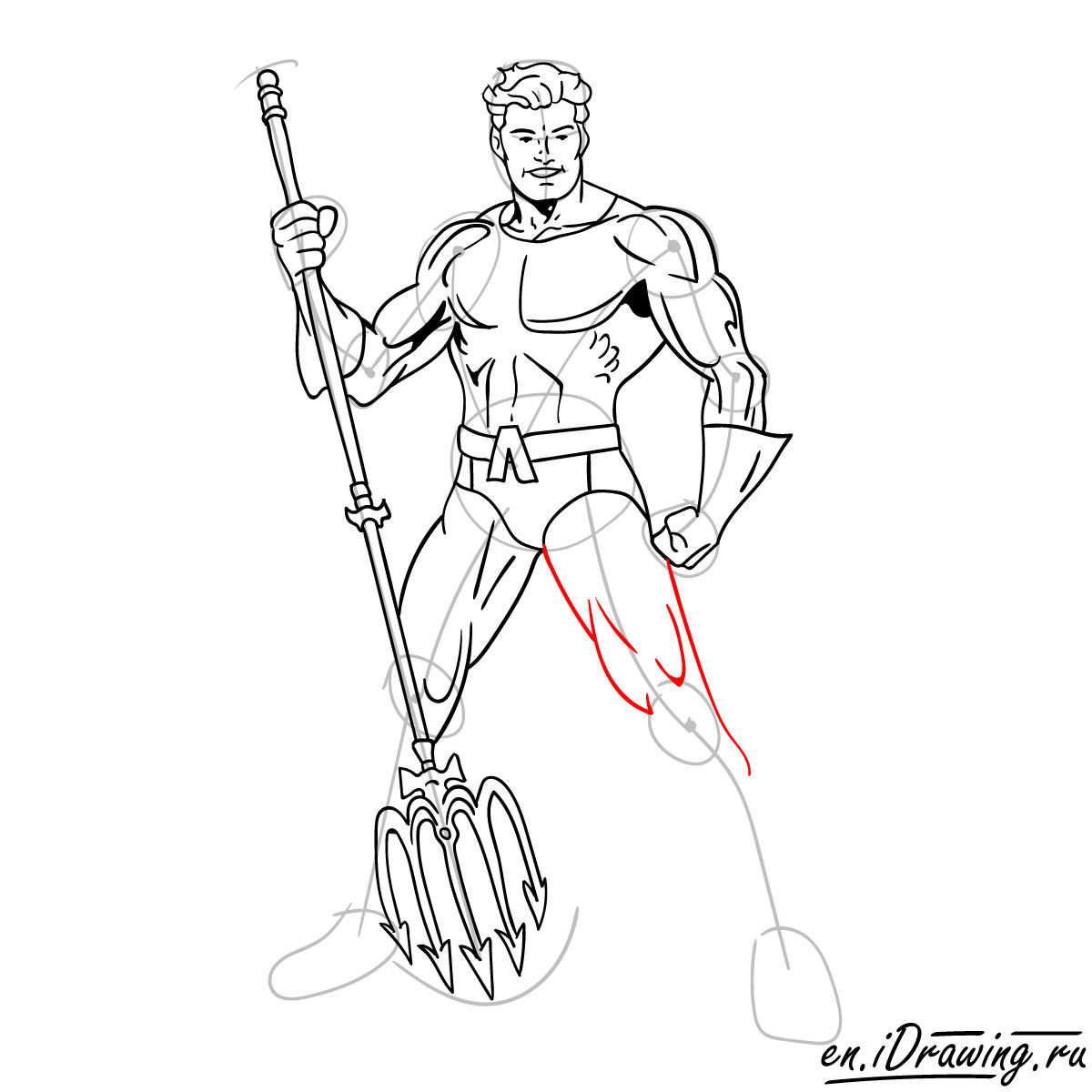 How to draw Aquaman from cartoons and comic books - step 15
