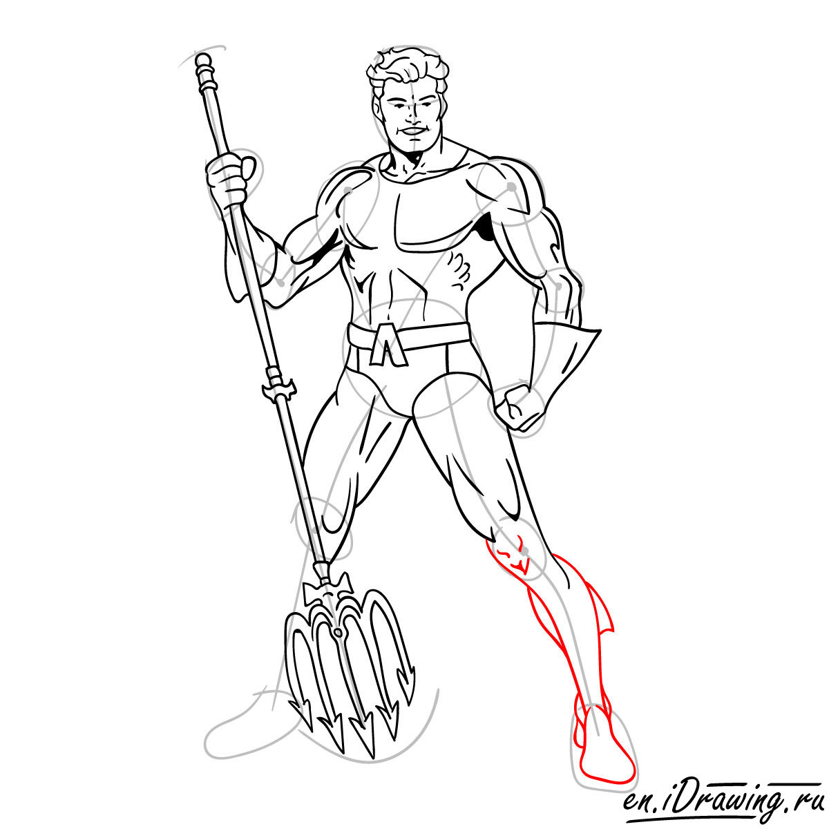 How to draw Aquaman from cartoons and comic books - step 16