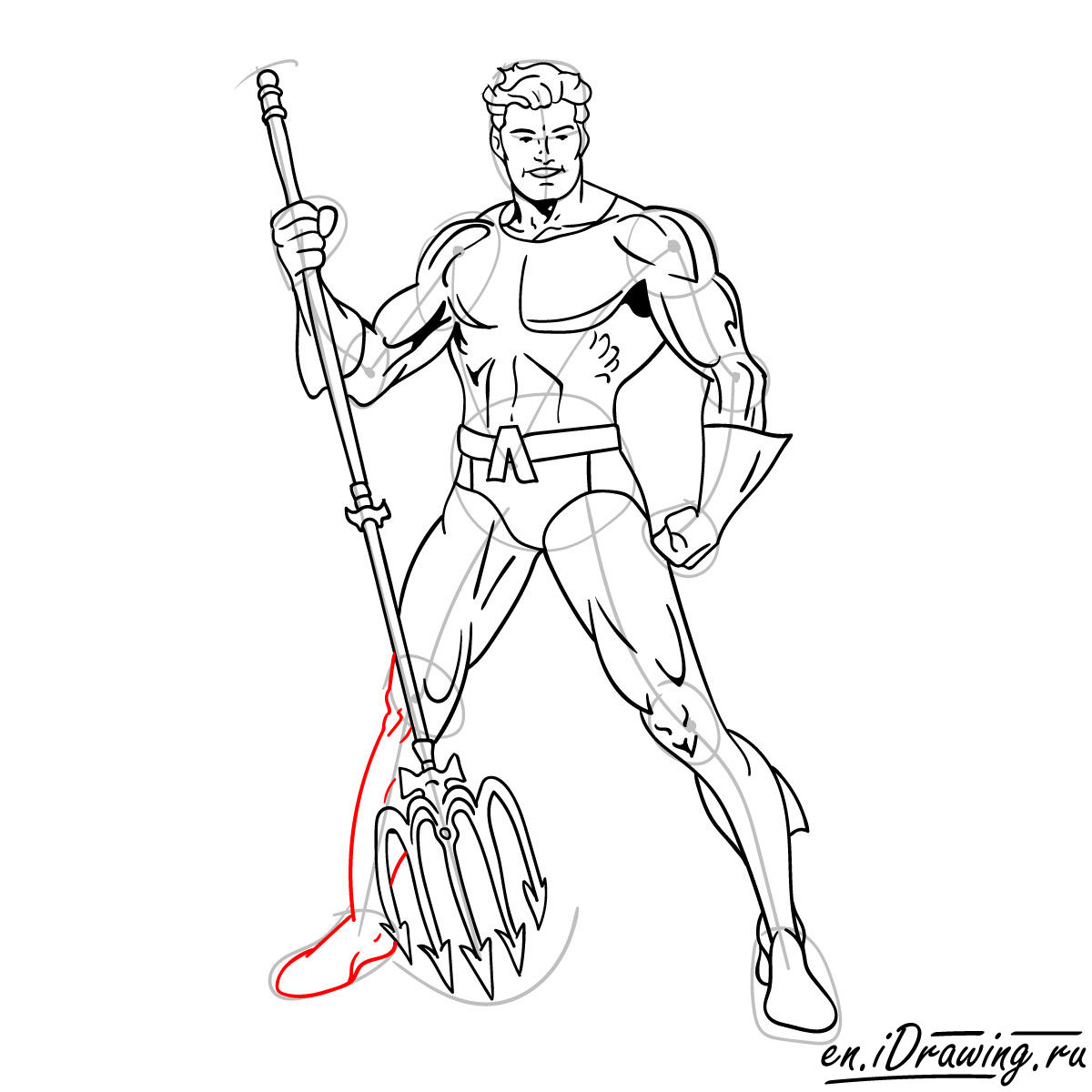 How to draw Aquaman from cartoons and comic books - step 17
