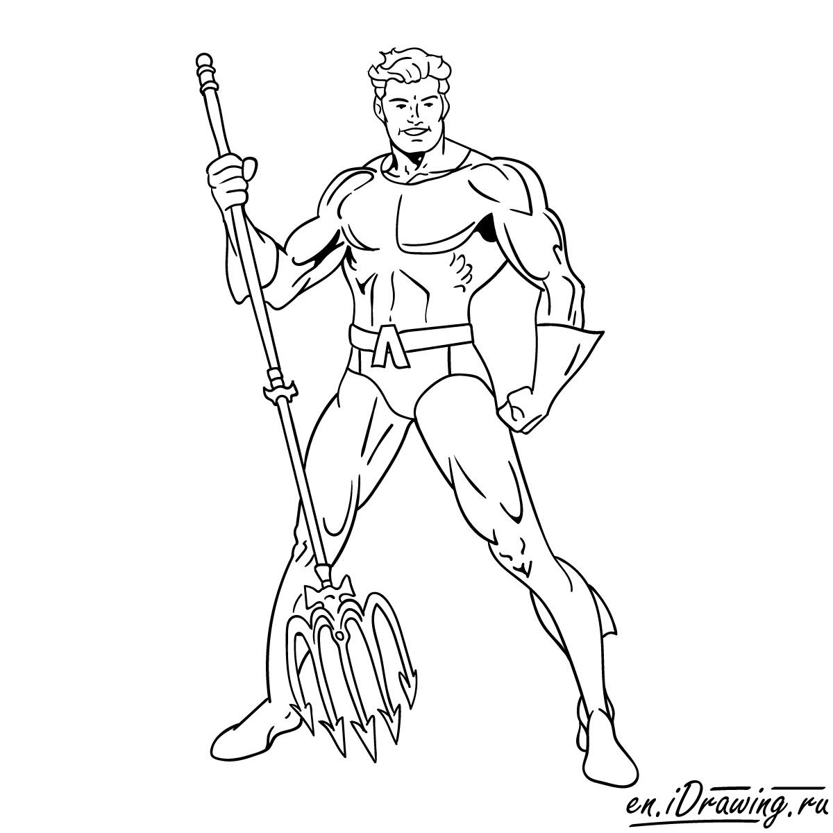 How to draw Aquaman from cartoons and comic books - step 18