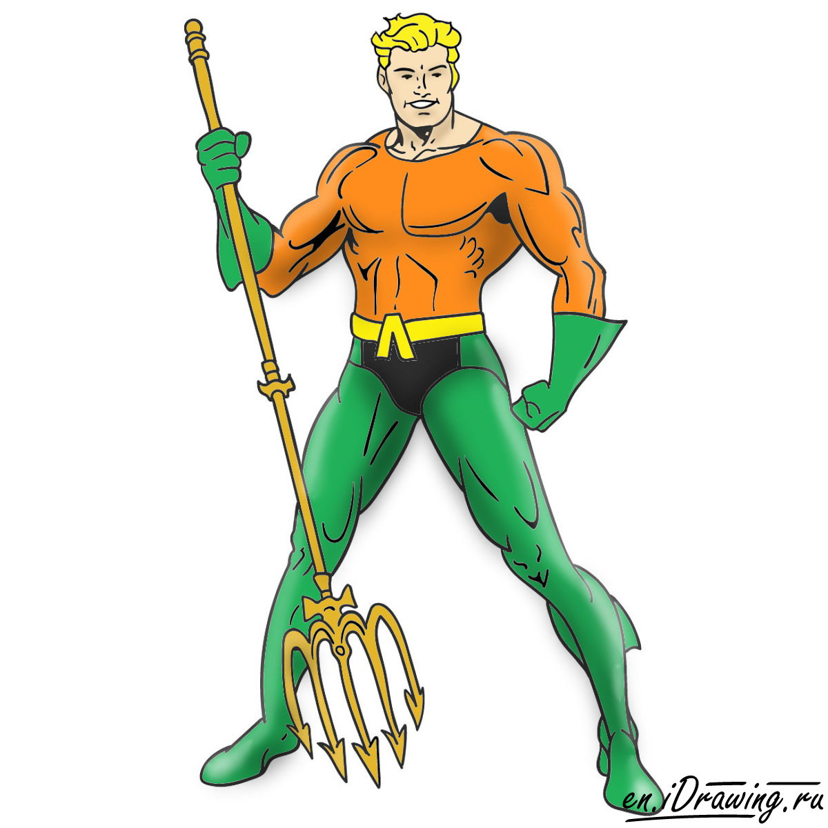 How to draw Aquaman from cartoons and comic books