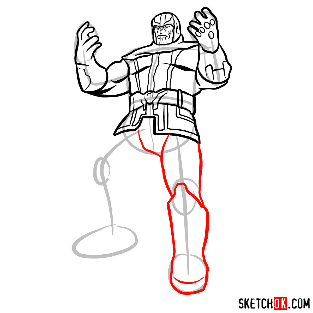 How to draw Thanos with 5 Infinity Stones - step 13