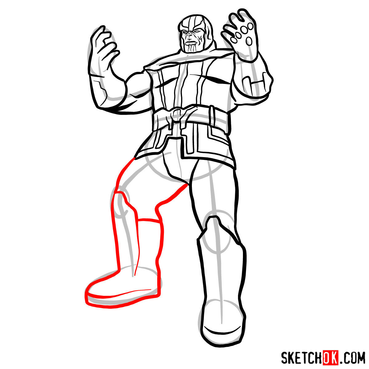 How to draw Thanos with 5 Infinity Stones - step 14
