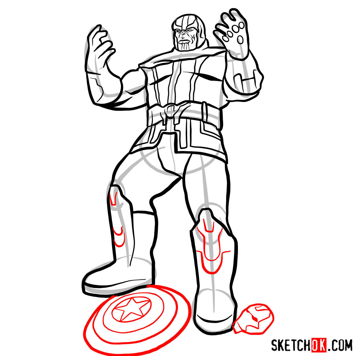 How to draw Thanos with 5 Infinity Stones - step 15