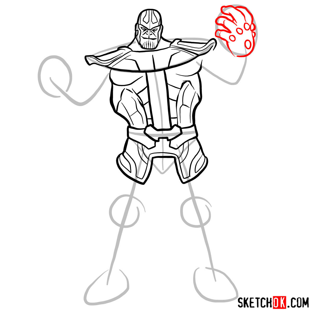 How to draw Thanos from Marvel Comics in full growth - step 08