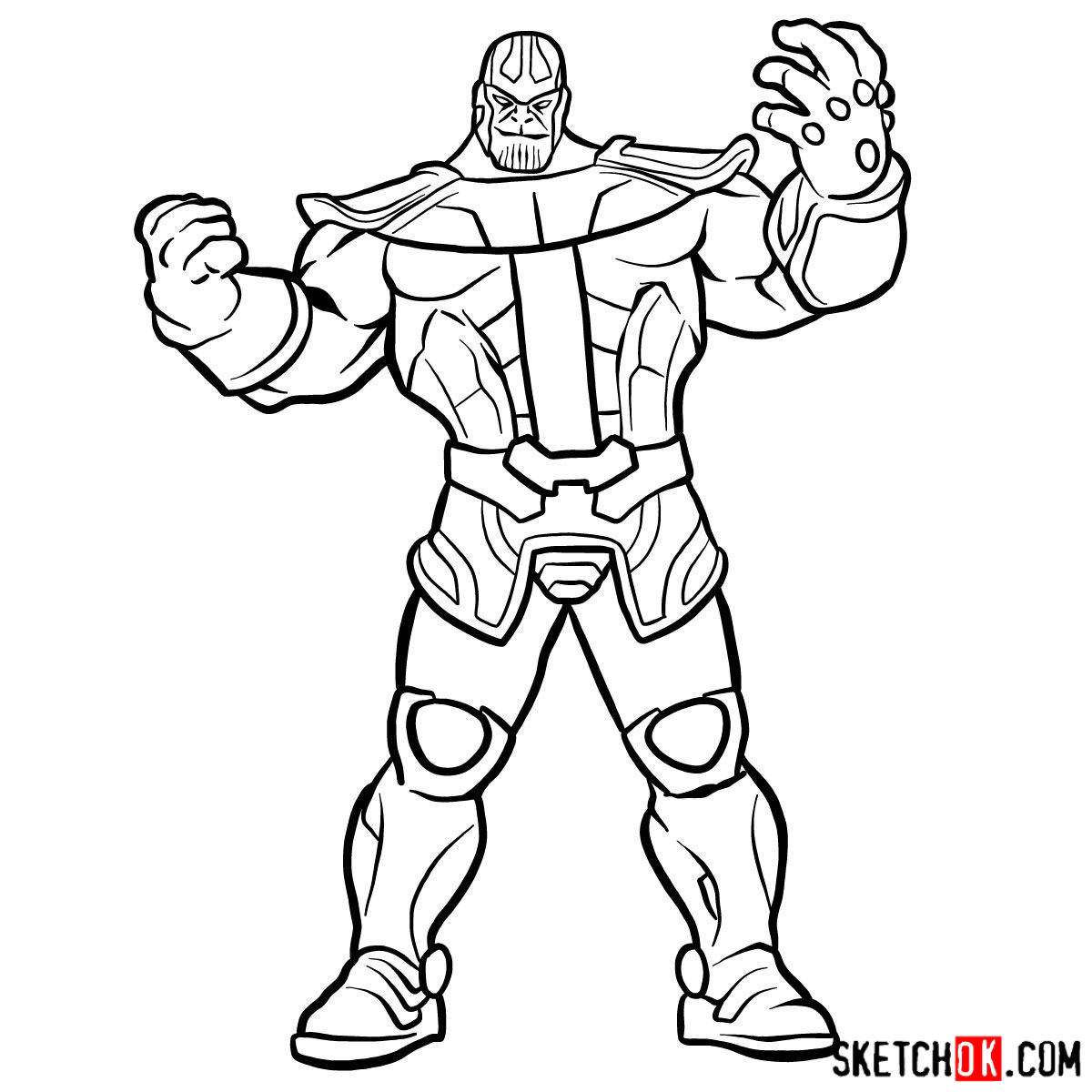 How to draw Thanos from Marvel Comics in full growth - step 14
